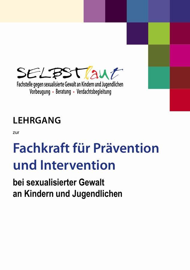 Folder zum Lehrgang zur Fachkraft für Prävention und Intervention bei sexualisierter Gewalt an Kindern und jugendlichen